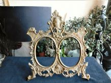 SUPERB ORNATE SOLID CAST BRASS ORNATE EASEL BACK DOUBLE PHOTO FRAME ANNO 1906